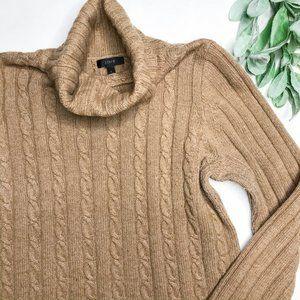 J. CREW | sz L tan Cambridge turtleneck sweater
